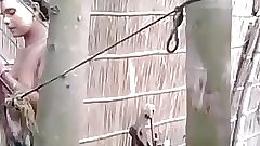 Indian amateur village girl outdoor shower - indianhiddencams.com
